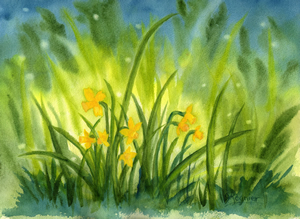 Daffodils In Twilight